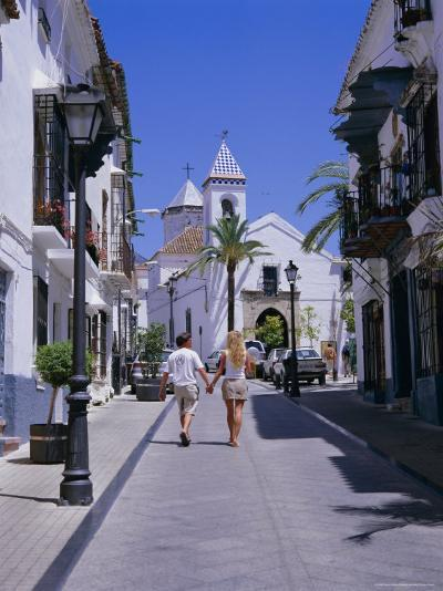 Street and Church in the Old Town, Marbella, Costa Del Sol, Andalucia (Andalusia), Spain, Europe-Gavin Hellier-Photographic Print