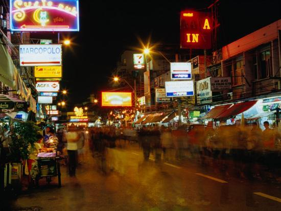 Street at Night, Thanon Khao San, Bangkok, Thailand-Ryan Fox-Photographic Print