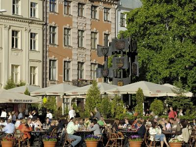 Street Cafe, Doma Square, Riga, Latvia, Baltic States-Gary Cook-Photographic Print
