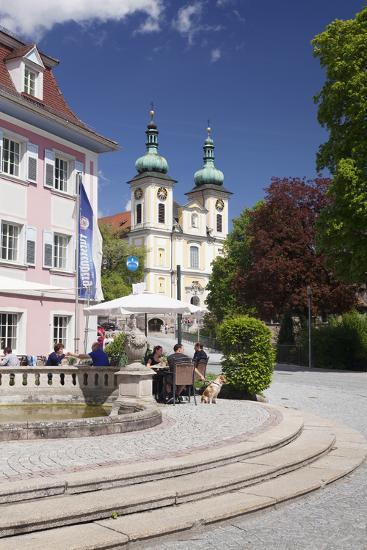 Street Cafe, St. Johann Church, Donaueschingen, Black Forest, Baden Wurttemberg, Germany-Markus Lange-Photographic Print