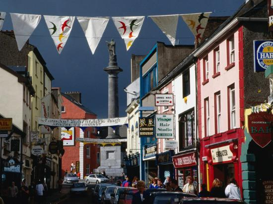 Street Decorated with Buntings and Signs, Ennis, Ireland-Wayne Walton-Photographic Print