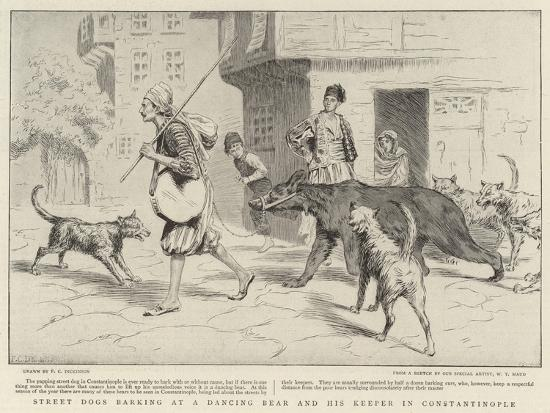 Street Dogs Barking at a Dancing Bear and His Keeper in Constantinople--Giclee Print