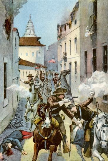 Street Fight in Santiago, Cuba, Spanish-American War, 1898--Giclee Print
