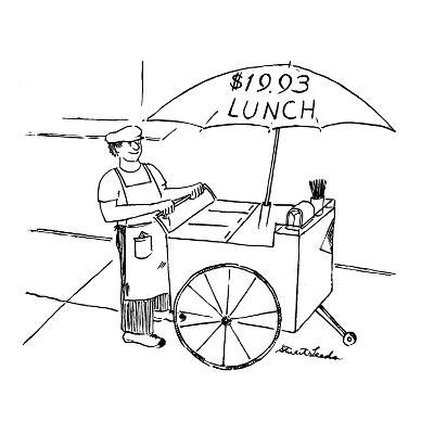 Street food vendor with cart and umbrella which reads, '$19.93 LUNCH.' - New Yorker Cartoon-Stuart Leeds-Premium Giclee Print