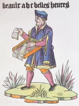 Street Hawker Selling Alphabet Primers and Books, from Cris De Paris, circa 1515--Giclee Print