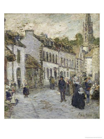 Street in Pont Aven in Evening-Childe Hassam-Giclee Print