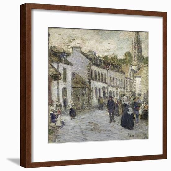 Street in Pont Aven in Evening-Childe Hassam-Framed Giclee Print
