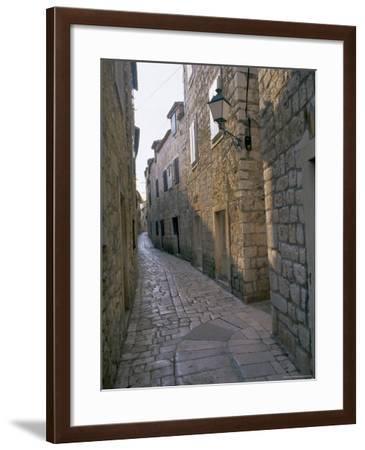 Street in Port of Stari Grad, Hvar Island, Dalmatia, Dalmatian Coast, Adriatic, Croatia, Europe-J P De Manne-Framed Photographic Print