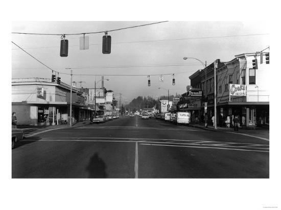 Street Intersection Scene - Monroe, WA-Lantern Press-Art Print