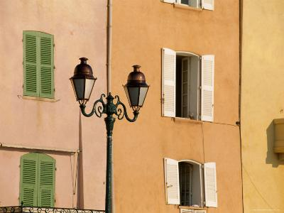 Street Lamp and Windows, St. Tropez, Cote d'Azur, Provence, France, Europe-John Miller-Photographic Print