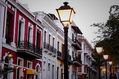 Street Lamps And Facades, Old San Juan, Pr-George Oze-Photographic Print