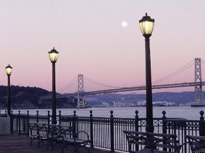 Street Lamps with Bridge in the Background-Robin Allen-Photographic Print