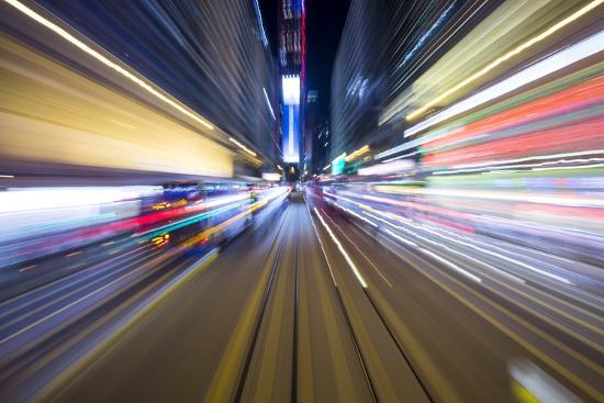 Street Lights from Hong Kong Tramway Street Car, China-Paul Souders-Photographic Print