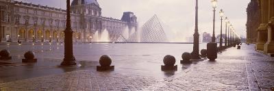 Street Lights Lit Up at Dawn, Louvre Pyramid, Musee Du Louvre, Paris, France--Photographic Print