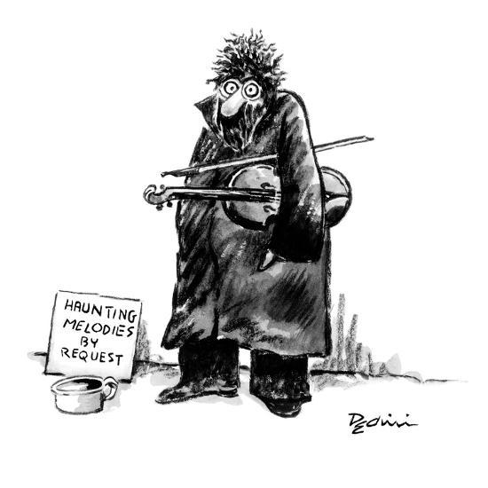 Street musician with wild eyes, holding a violin under his arm, has a sign? - New Yorker Cartoon-Eldon Dedini-Premium Giclee Print