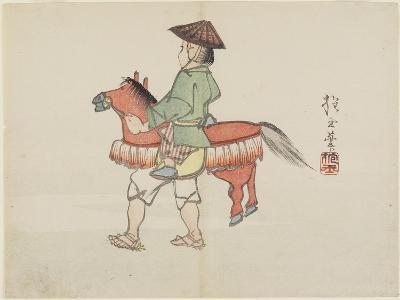 (Street Performer with Horse Costume), C. 1830- Hogyoku-Giclee Print