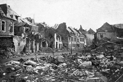 Street Scene after the Fall of Peronne, France, First World War, 1917--Giclee Print