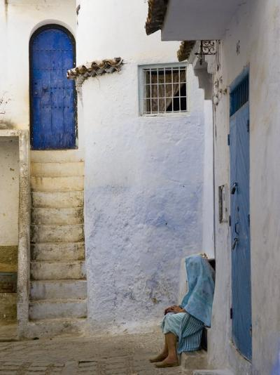 Street Scene in the Famous Blue Town of Chefchaouen-Annie Griffiths Belt-Photographic Print