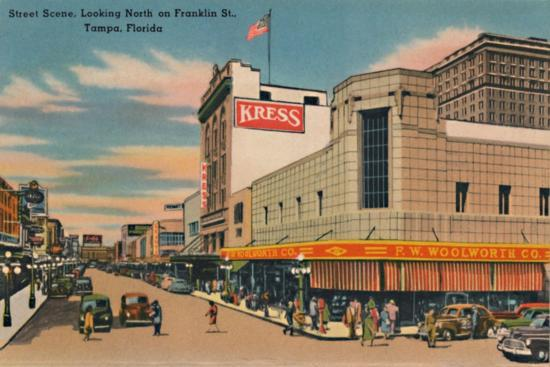 'Street Scene, Looking North on Franklin St., Tampa, Florida', c1940s-Unknown-Giclee Print