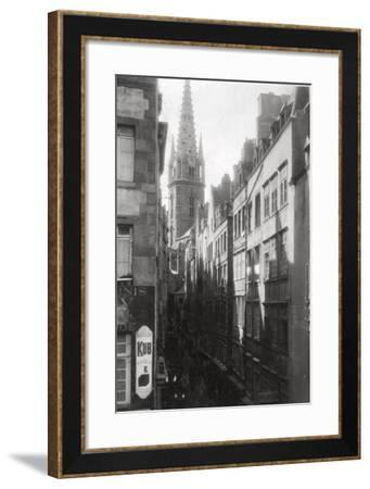 Street Scene, Showing the Cathedral Spire, St Malo, Brittany, France, 20th Century--Framed Photographic Print
