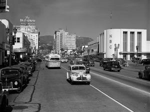 Street Scene View Down Vine Street NBC Studio the Broadway Hotel Near Sunset Boulevard Hollywood