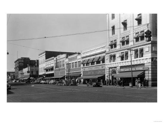 Street Scene, View of JC Penney's - Yakima, WA-Lantern Press-Art Print
