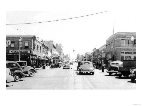 Street Scene, View of the Fry Drug Company - Port Angeles, WA-Lantern Press-Art Print
