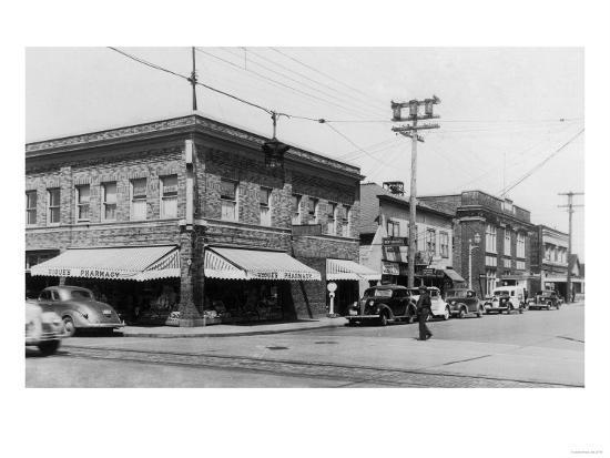 Street Scene, View of Vioue's Pharmacy - Renton, WA-Lantern Press-Art Print