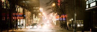 Street Scenes and Urban Night Panoramic Landscape in Winter under the Snow-Philippe Hugonnard-Photographic Print