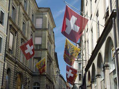 Street Scenes in Geneva Old Town, Geneva, Switzerland, Europe-Matthew Frost-Photographic Print