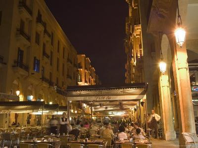 Street Side Cafe Area, Place d'Etoile (Nejmeh Square) at Night, Downtown, Beirut, Lebanon-Christian Kober-Photographic Print