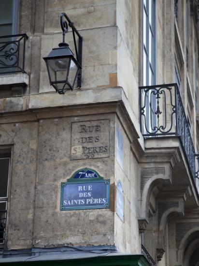 Street Sign and Building, Rive Guache, Paris, France-Jon Arnold-Photographic Print