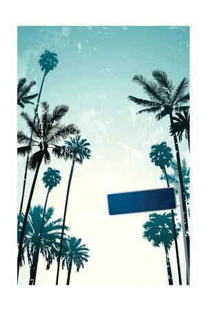 Street Sign and Palms-Lantern Press-Art Print