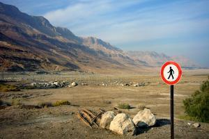 Street Sign on the Shore of the Dead Sea, Israel
