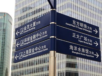 Street Signs in Pudong, Shanghai, China, Asia-Amanda Hall-Photographic Print