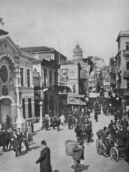 'Street vista in Galata from end of bridge, Constantinople', 1913-Unknown-Photographic Print