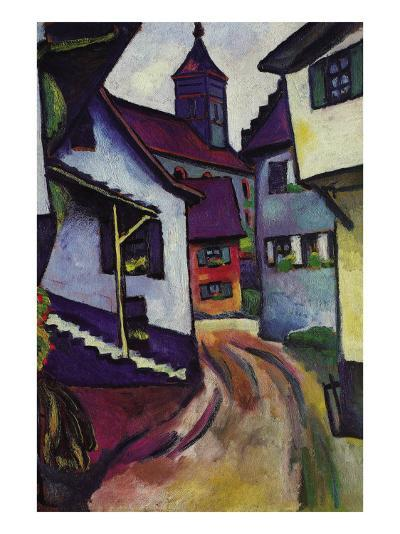 Street with a Church In Kinder-Auguste Macke-Art Print