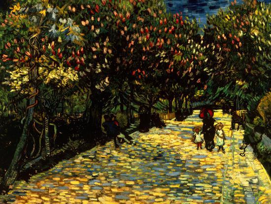 Street with Chestnuts Blossoming--Giclee Print