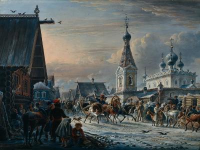 Street with Mail Coaches, 1829-Alexander Osipovich Orlowski-Giclee Print