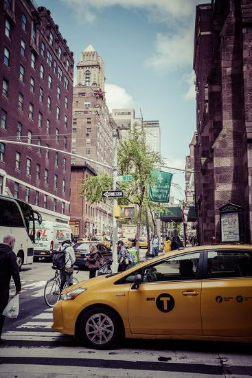 Streetview with traffic, pedestrians and cab, in Manhattan, New York, USA-Andrea Lang-Photographic Print