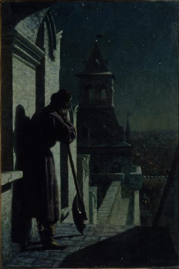Strelets on the Moscow Kremlin Tower at Moonlit Night, 1890s-Nikolai Sergeyevich Matveyev-Giclee Print