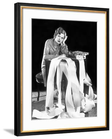 Stressed Woman with Long List--Framed Photo