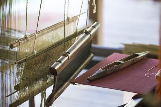 Stretched Strands of Fine Yarn in Traditional Looms at Ock Pop Tock, the Living Craft Center-Michael Melford-Photographic Print