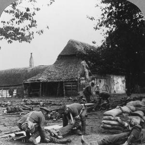 Stretcher Bearers Caring for Wounded at an Improvised First Aid Post, World War I, C1914-C1918