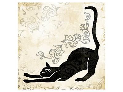 Stretching Burlap Cat-Alan Hopfensperger-Art Print