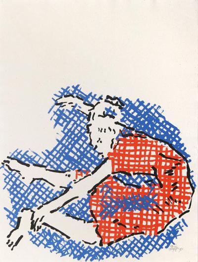 Stretching Girl-Judy Rifka-Serigraph