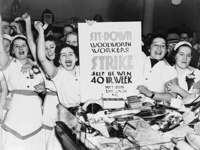 Striking Employees of NYC Woolworth's Demand a 40 Hour Work Week, 1937