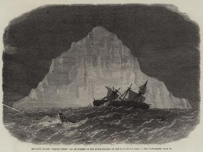 Striking of the Indian Queen on an Iceberg in the South Pacific, on the Morning of 1 April-Edwin Weedon-Giclee Print