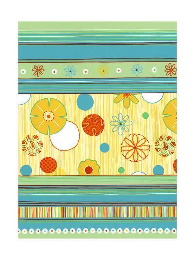 Stripe and Flower Pattern--Art Print
