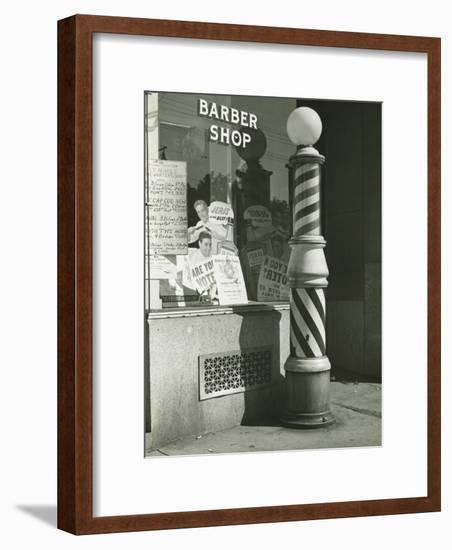 Striped Barber Pole Outside Shop-George Marks-Framed Photographic Print